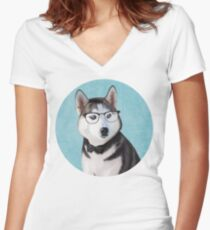Mr Siberian Husky Women's Fitted V-Neck T-Shirt