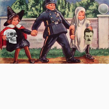 Young Gravediggers  (Vintage Halloween Card) by jibbsmerch