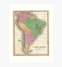 vintage Map of South America Art Print