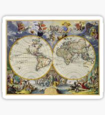 vintage map of the world Sticker