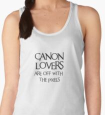 Canon lovers, off with the pixels ~ black text Women's Tank Top