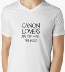 Canon lovers, off with the pixels ~ black text Men's V-Neck T-Shirt