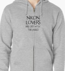 Nikon lovers, off with the pixels ~ black text Zipped Hoodie