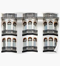 White vintage facade with balconies. Poster