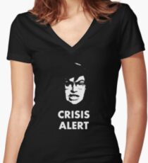 Garret Crisis Alert  Women's Fitted V-Neck T-Shirt
