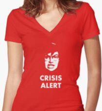 Garret Crisis Alert  Women's Fitted V-Neck T-Shirt
