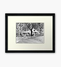 White House with Trees Framed Print