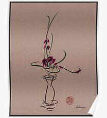 Life  -  Sumi e  Ikebana Zen drawing Poster