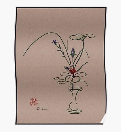 Autumn Chill - Sumi e  Ikebana Zen drawing Poster