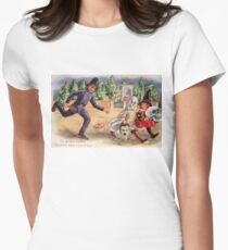 Young Graverobbers  (Vintage Halloween Card) Women's Fitted T-Shirt