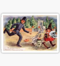 Young Graverobbers  (Vintage Halloween Card) Sticker