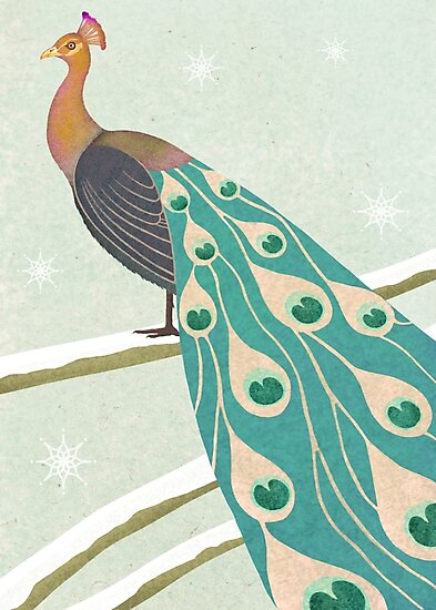 winter christmas peacock by Maria Khersonets