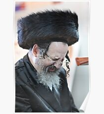 Praying in the Ohel of Rabbi Elimelech. Harcikn Dank ! A dank ojch zejer!   Featured in  Hat Heads. Poster