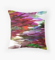 FERVOR 3 Colorful Autumn Fall Watercolor Rainbow Brushstrokes Splash Crimson Red Mauve Maroon Green Purple Fine Art Throw Pillow