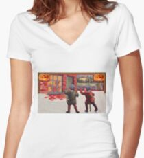 Young Killers  (Vintage Halloween Card) Women's Fitted V-Neck T-Shirt