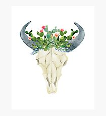 Bull skull with cacti crown - hand painted watercolor Photographic Print
