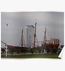 Galleon And Modern Architecture - Galeón Y Arquitectura Moderna Poster