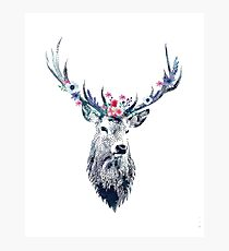 Pointillism (dotty) Deer with flower crown Photographic Print