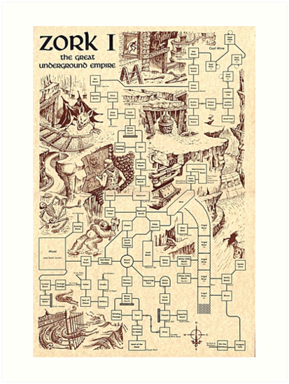 'Zork Map' Art Print by drsushi on gears of war map, far cry 2 map, pac-man map, sid meier's alpha centauri map, the great maze map, return to zork, civilization map, portal map, zork zero, ace combat map, beyond zork, interactive fiction, zork ii, etrian odyssey map, starcraft map, a mind forever voyaging, proving grounds of the mad overlord, colossal cave adventure, dead ops arcade map, zork: the undiscovered underground, galactic empire map, the lost treasures of infocom, zork: nemesis, small amusement park map, pool of radiance map, myst map, world of warcraft map, metal gear solid map, super mario bros. map, the witcher map,