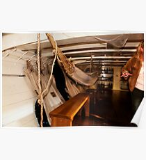 Hammocks, Below Decks on a Sailing Ship. Poster