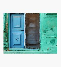 Blue doors in a (very) green wall Photographic Print