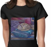 cat on a cushion  Womens Fitted T-Shirt