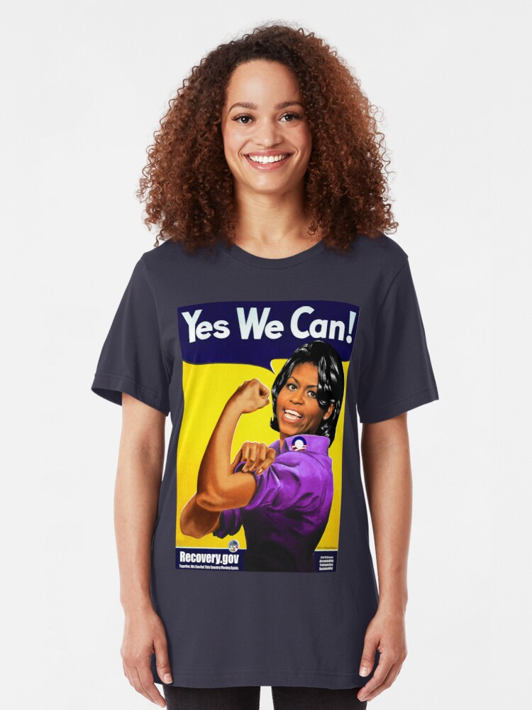 Alternate view of Recovery.gov Michelle Obama as Rosie The Riveter Slim Fit T-Shirt