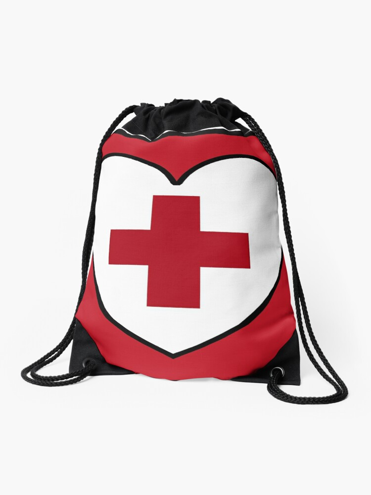 Get Well Soon, Red Cross, First Aid, Sexy Nurse, Heart, | Drawstring Bag