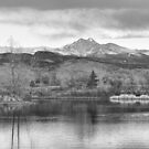 Longs Peak and Mt Meeker Sunrise at Golden Ponds BW  by Bo Insogna