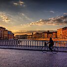 A Bike over the River Arno in Pizza, Italy by NeilAlderney