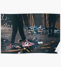 Jordan Sneakers On Fire Poster