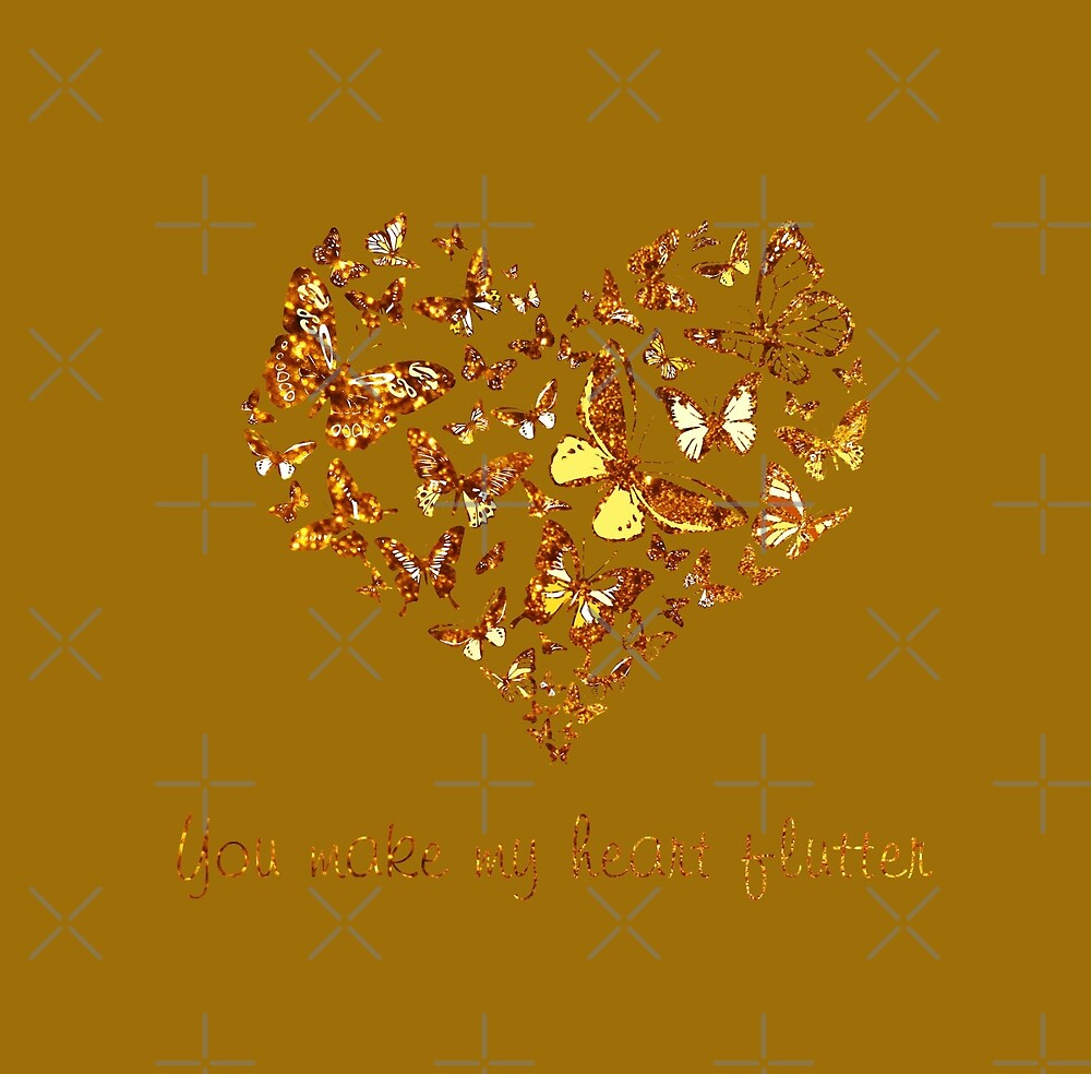 You Make My Heart Flutter (Gold) by Bamalam Art and Photography
