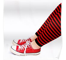 Red and black striped leg warmers Poster