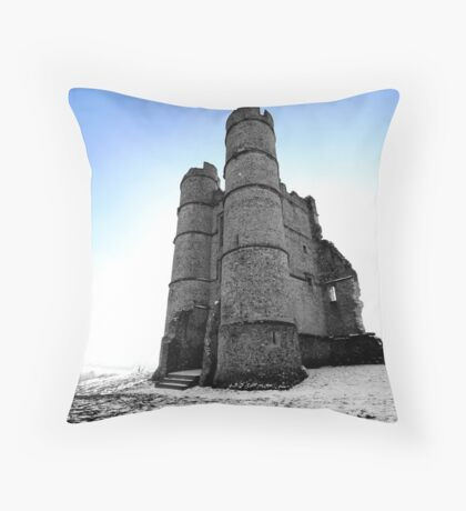Donnington Castle In The Snow Throw Pillow