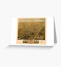 Panoramic Maps Bird's eye view of the city of Rochester Olmsted County Minnesota 1869 Greeting Card