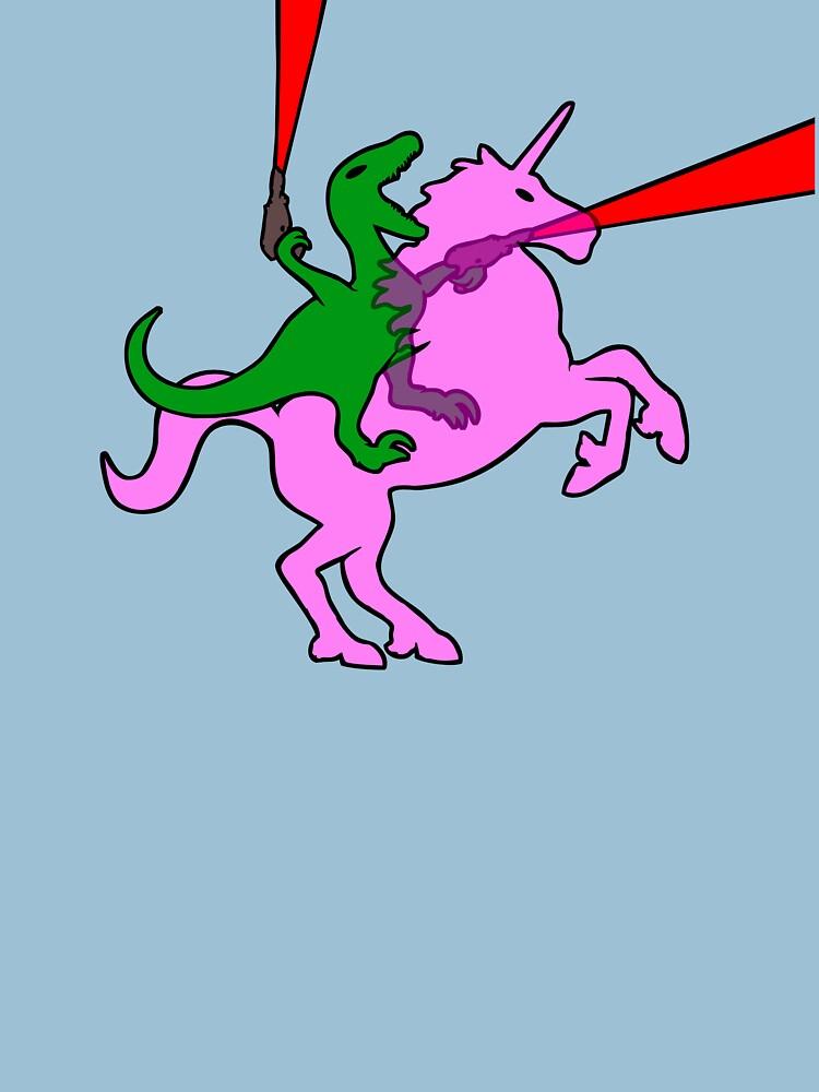 Dinosaurier, der unsichtbares rosa Einhorn reitet von jezkemp