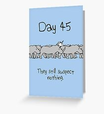 Day 45. They still suspect nothing. (Unicorn + Rhinos) Greeting Card