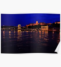 The Chain Bridge. The Danube River in Budapest at night. Number 3 Poster