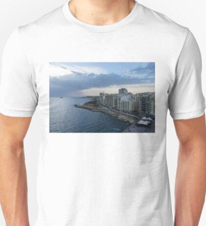 Offshore Rainstorm - Sliema's Famous Promenade Waking Up T-Shirt