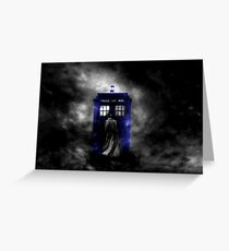 The Doctor and his blue box Greeting Card