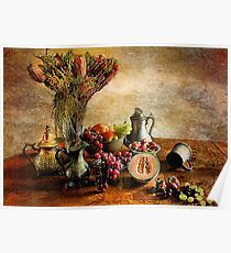 Fruit and Flowers Still life  Poster