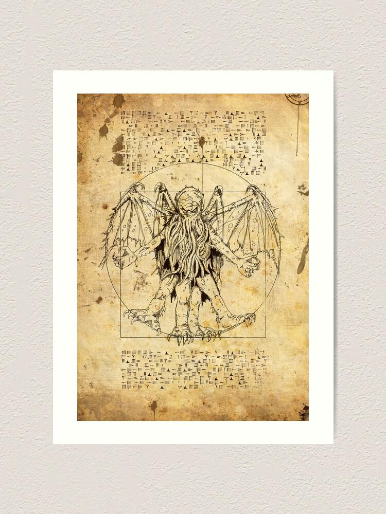 Alternate view of Cthulhu Vitruvian Art Print