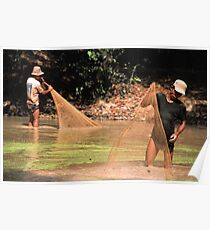 Khmer fisherman in the Angkor complex. Poster