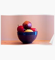 Fruit in Blue Bowl Poster