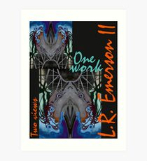One work, Two Views - Commemorative Poster by L. R. Emerson II from the Upside-Down Drawing Art Movement; Upsidedownism, Topsy Turvy Art, Ambigram Art, or Masg Art  Art Print