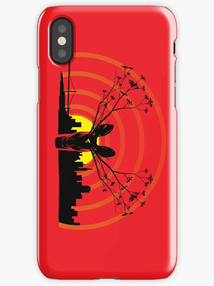Deer Flowers SF - Red by jhawkinsart
