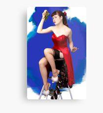 UK Pin Up Stephanie Jay Mistletoe Surprise Metal Print