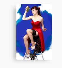 UK Pin Up Stephanie Jay Mistletoe Surprise Canvas Print