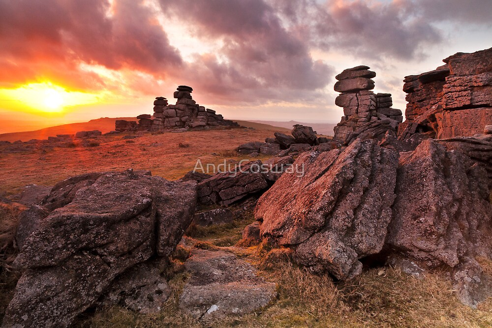 Sunset on Great Staple Tor by AndyCosway