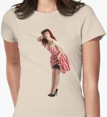 UK Pin Up Stephanie Jay Red Diner Womens Fitted T-Shirt